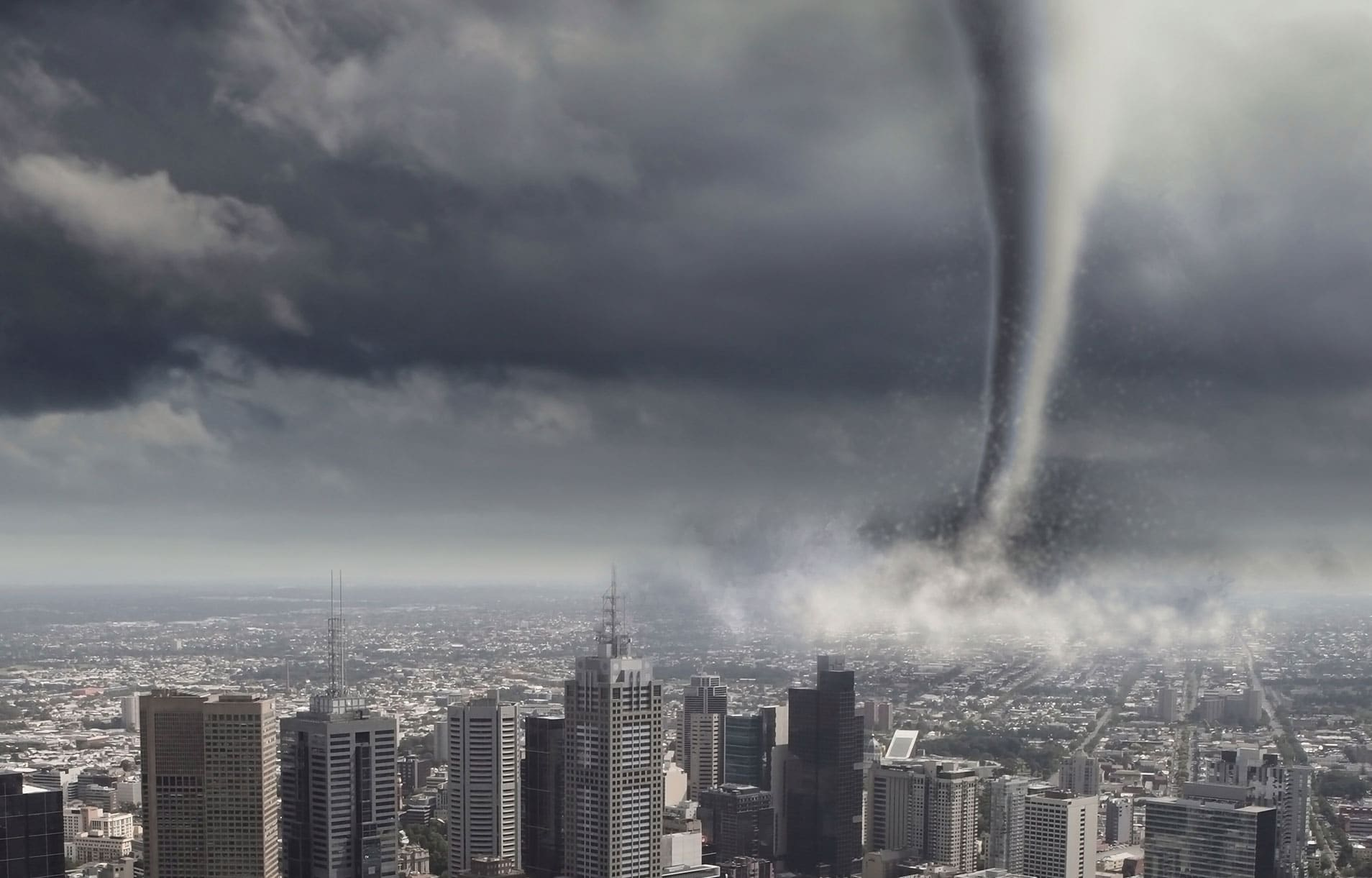 graphic of tornado in densely populated cityscape
