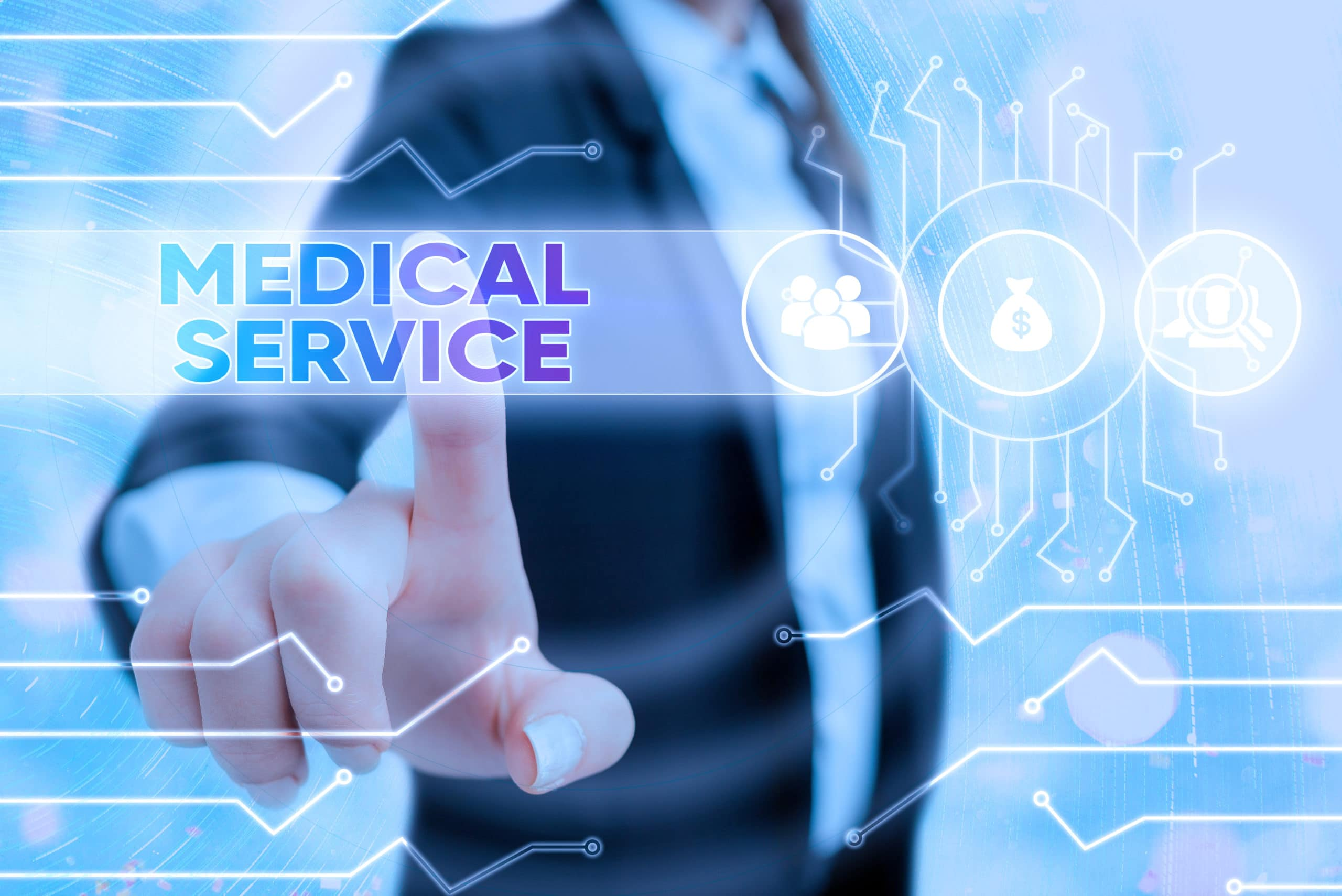 Writing note showing Medical Service. Business photo showcasing care and treatment provided by a licensed medical provider System administrator control, gear configuration settings tools concept.