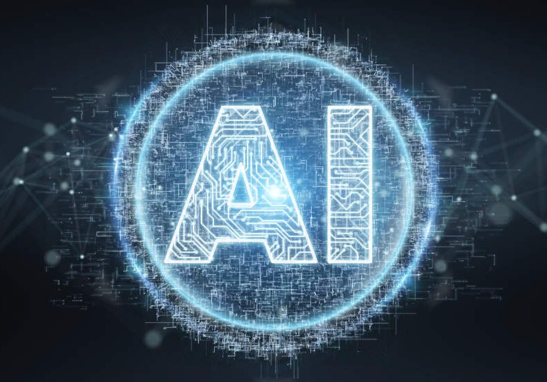 Digital artificial intelligence text hologram on blue grey background 3D rendering