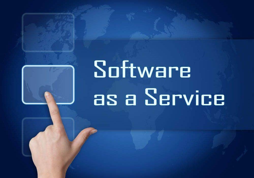 Software as a Service concept with interface and world map on blue background
